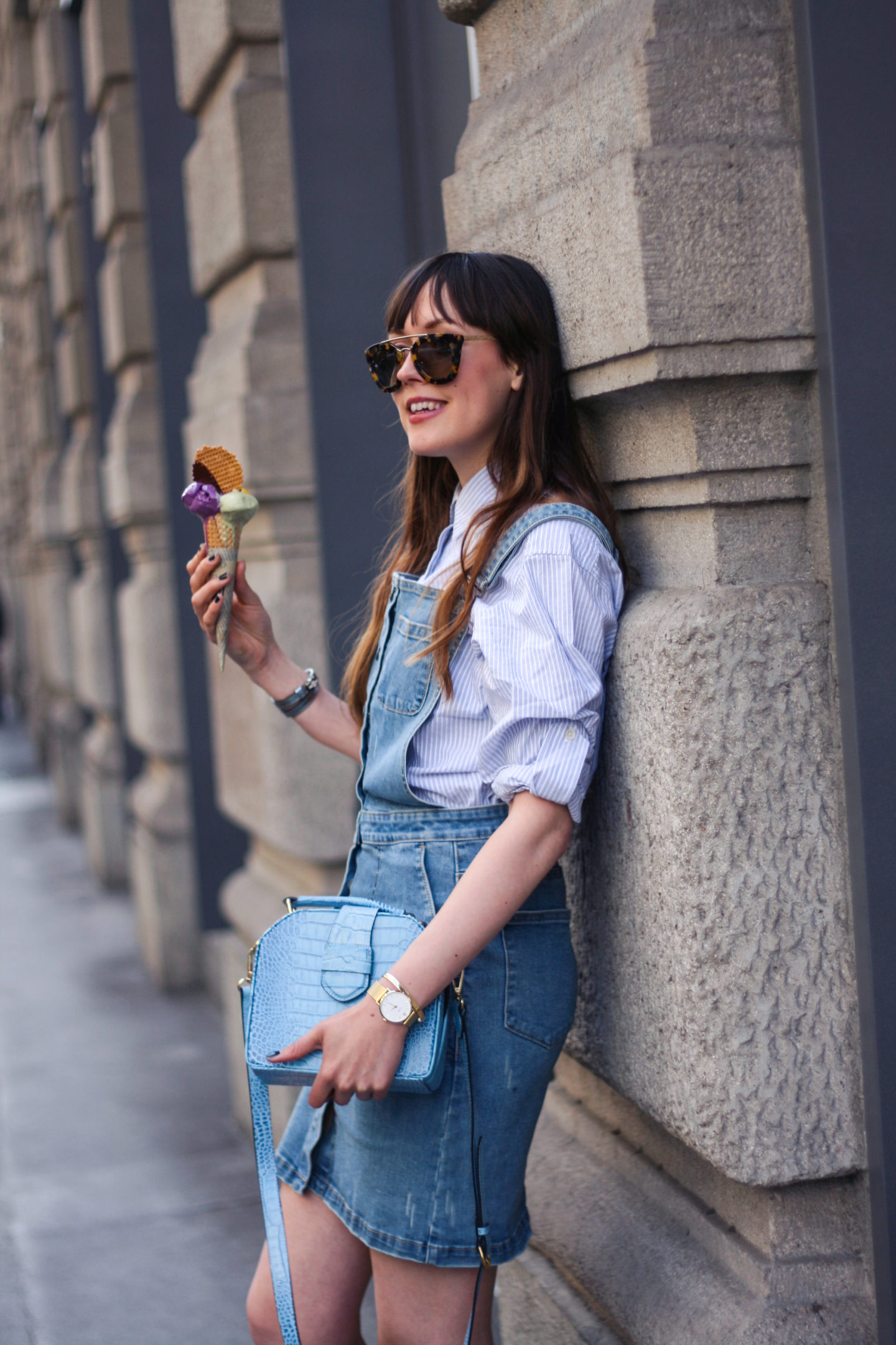 Denim dungaree dress in Milano