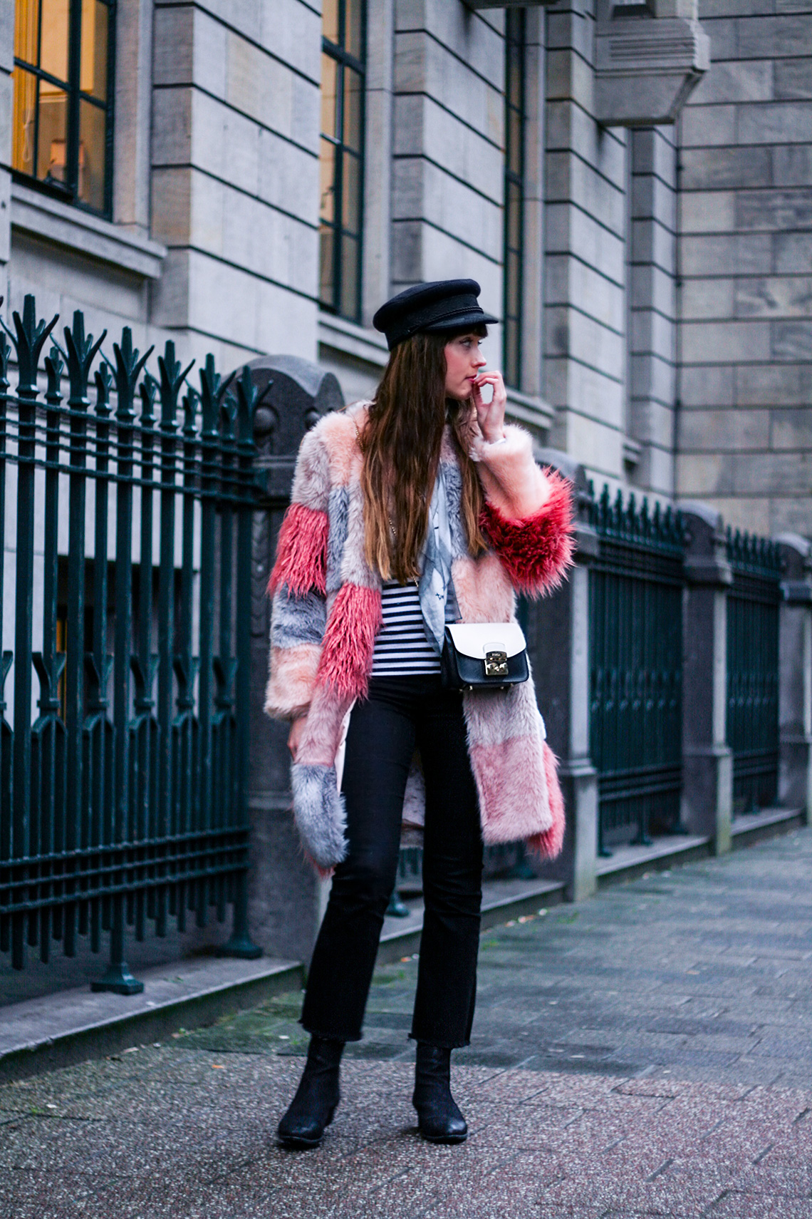 pink-faux-fur-coat-striped-shirt-winter-outfit-3
