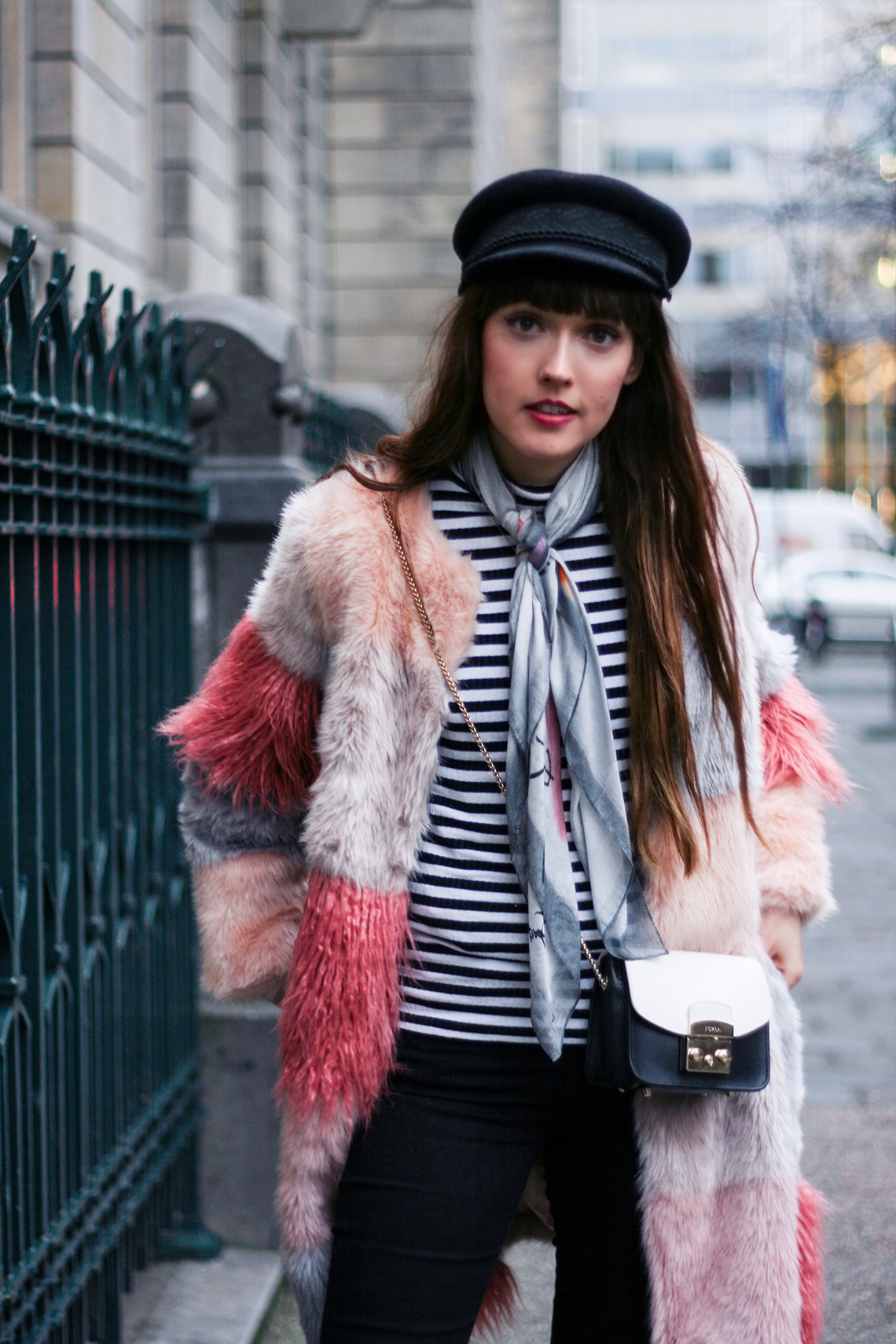 pink-faux-fur-coat-striped-shirt-winter-outfit-6