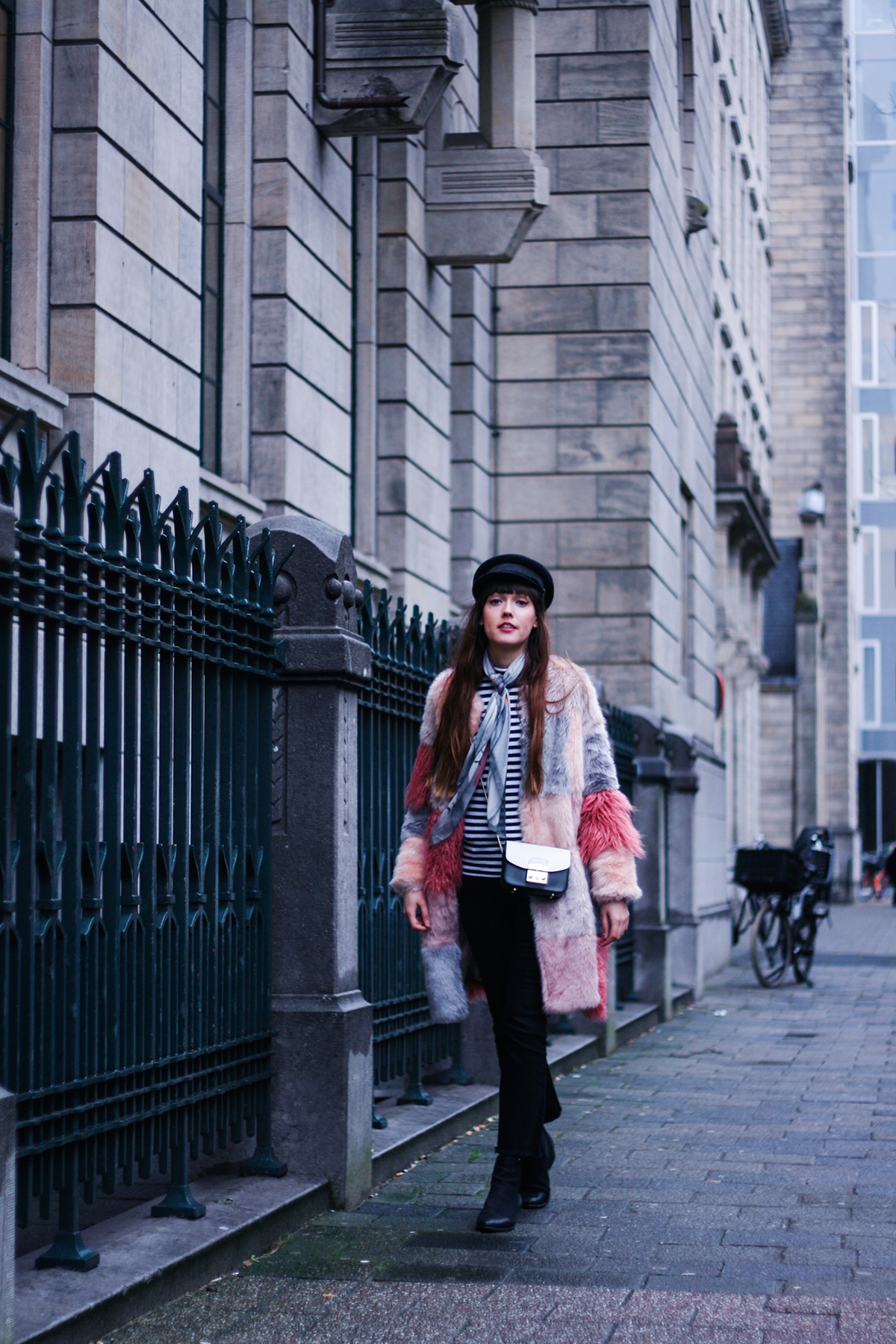 pink-faux-fur-coat-striped-shirt-winter-outfit-7
