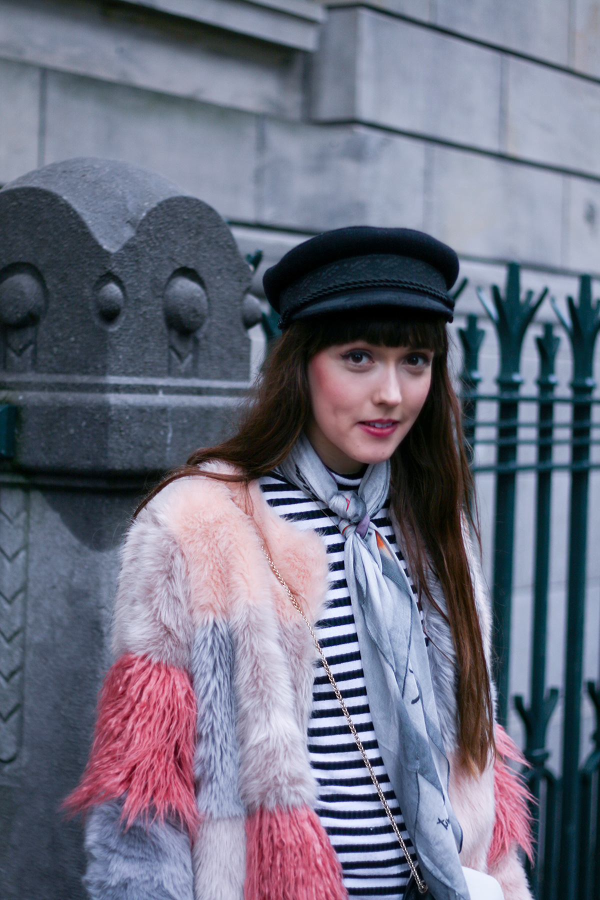 pink-faux-fur-coat-striped-shirt-winter-outfit