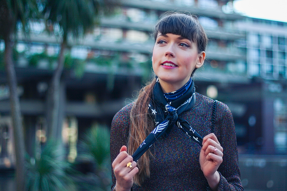 the-barbican-fashion-blogger-outfit-photoshoot-sandro-scarf-lurex-top-turnover-skirt-nike-cortez-trainers-12