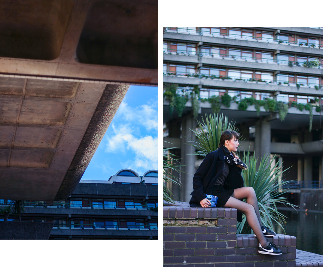the-barbican-fashion-blogger-outfit-photoshoot-sandro-scarf-lurex-top-turnover-skirt-nike-cortez-trainers-14