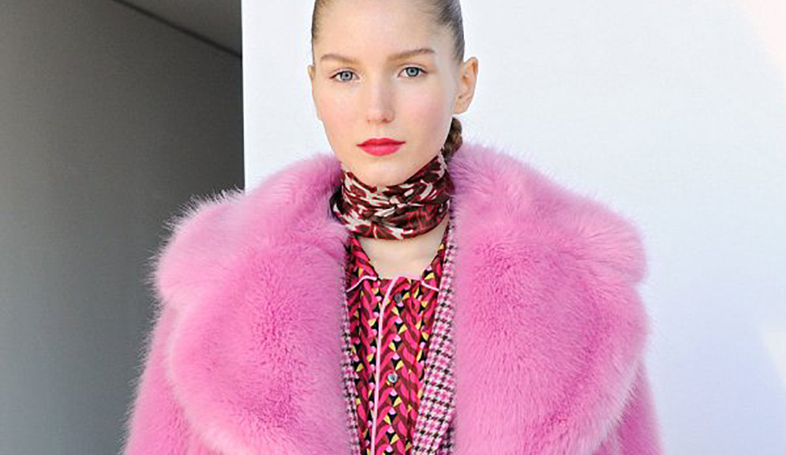 Obsessed with J.Crew's pink faux fur coat